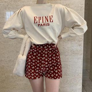 epine  velours flower short pants red