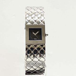 CHANEL - 【美品】シャネル レディース腕時計 マトラッセ QZ SS シルバー 黒文字盤