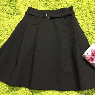 M'S GRACY - 美品エムズグレイシー レディキルティングスカート黒 ベルト付き