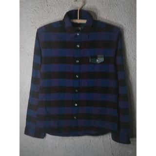 ピーピーエフエム(PPFM)のo1466 PPFM  長袖 ブロック チェック シャツ プリント デザイン(シャツ)