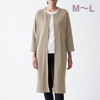 ムジルシリョウヒン(MUJI (無印良品))の無印良品   インド綿混ワッフル編みカ-ディガン 婦人M~Lグレイッシュブラウン(カーディガン)