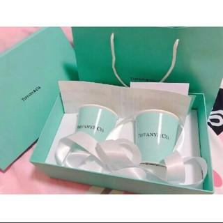 ティファニー(Tiffany & Co.)のティファニー ボーンチャイナ ペーパーカップ 2個セット ペア マグ カップ(食器)