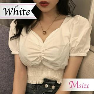 白 ホワイト M レトロ ミニ丈 ブラウス 韓国 パフスリーブ フリル シャツ
