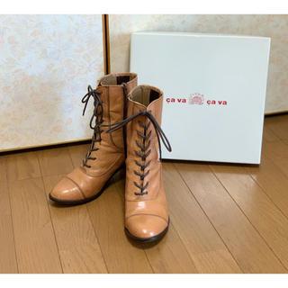 サヴァサヴァ(cavacava)のcavacava ショートブーツ ベージュ系 24.5cm(ブーツ)