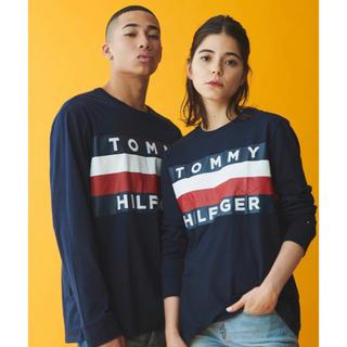 トミーヒルフィガー(TOMMY HILFIGER)のトミーヒルフィガー  ロングTシャツ  ネイビー メンズMサイズ(Tシャツ/カットソー(七分/長袖))