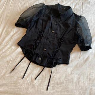 アトリエボズ(ATELIER BOZ)のelements e シースルーシャツ ブラック(シャツ/ブラウス(半袖/袖なし))