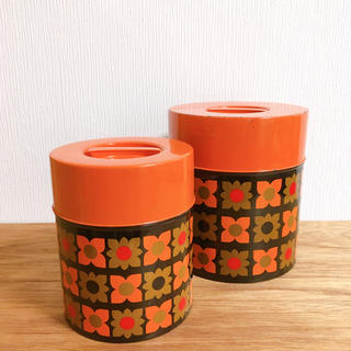 アンティーク缶 円柱型 2つセット(その他)