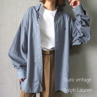 ポロラルフローレン(POLO RALPH LAUREN)の90s ラルフローレン 刺繍ロゴ ビッグシャツ くすみブルー 古着女子(シャツ/ブラウス(長袖/七分))