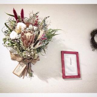 ザラホーム(ZARA HOME)の173.プロテアのスワッグ  植物画額装付き*ドライフラワー(ドライフラワー)