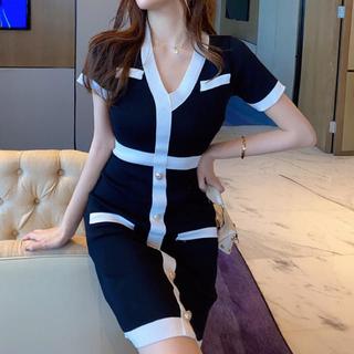 リップサービス(LIP SERVICE)のバイカラーVネック膝丈ワンピース(ブラック)(ナイトドレス)