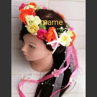 花冠 花かんむり カラフル 南国風(ヘッドドレス/ドレス)