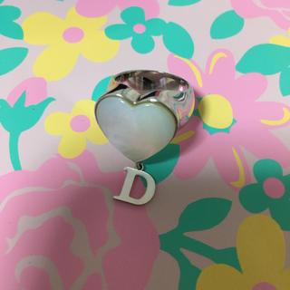 ディオール(Dior)のディオール Dチャーム付ハートシェルリング 8号 美品(リング(指輪))