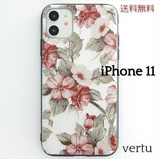 iPhone11 エンボス ケース ノスタルジーフラワー1