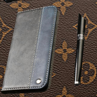 iPhoneカバー 紺色 黒 レザー 携帯ケース スマホカバー
