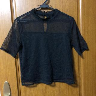 マジェスティックレゴン(MAJESTIC LEGON)のマジェスティックレゴン 黒 ブラウス レース 半袖(シャツ/ブラウス(半袖/袖なし))