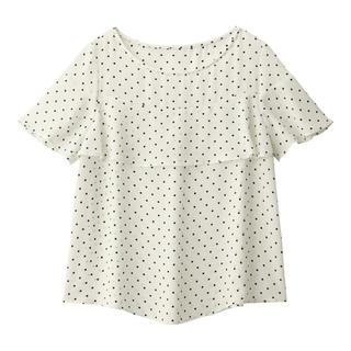 ジーユー(GU)のGU/ジーユー  ドットフリルブラウス ホワイト 白 M(シャツ/ブラウス(半袖/袖なし))