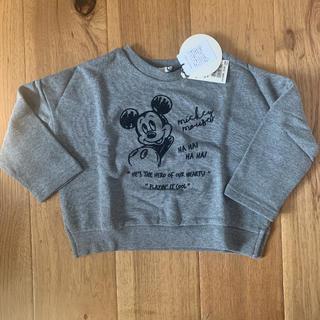 プティマイン(petit main)の【新品】b-room   ミッキーマウス グレー  長袖カットソー 100(Tシャツ/カットソー)