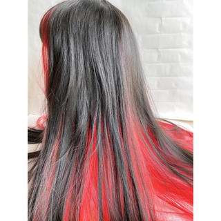 フルウィッグ 黒×赤 ロング