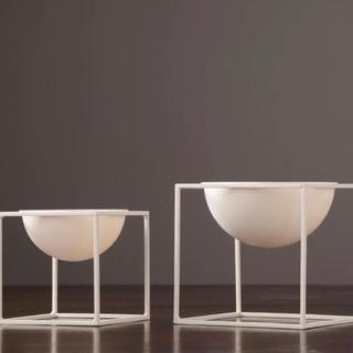 北欧風ホワイトフラワーボール 卓上 植木鉢 小物入れ