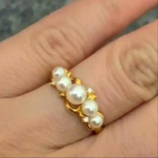 タサキ(TASAKI)の田崎 ベビーパールリング k18 ダイヤモンド(リング(指輪))