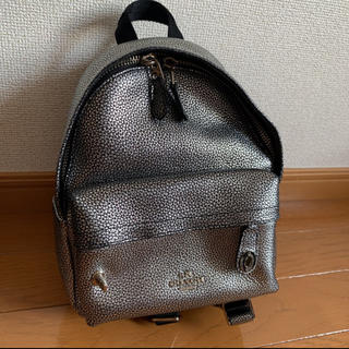 COACH - 美品 COACH  本革レザー 黒×シルバー ミニリュック