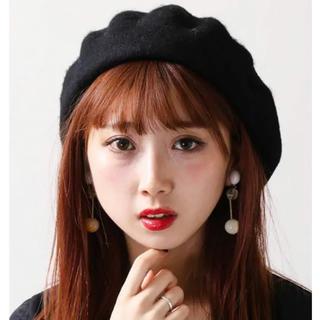 ウィゴー(WEGO)のベレー帽 黒 韓国(ハンチング/ベレー帽)