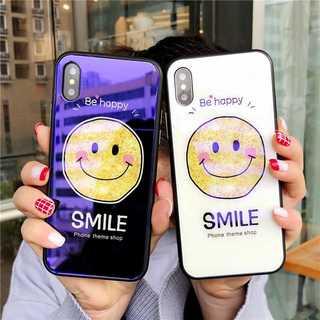 ガラスケース iPhone XS / X ブラック ケース かわいい スマイリー