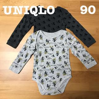 UNIQLO - 【90cm】UNIQLO BABY 長袖クルーネックボディ 2枚 ミッキー柄