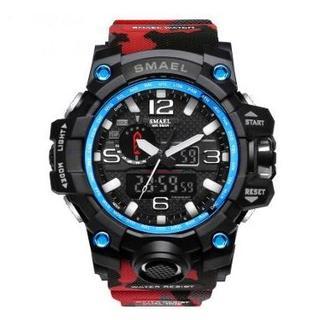 SMAEL 1545MC スポーツウォッチ(迷彩タイプ、レッド)(腕時計(デジタル))