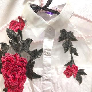 グリモワール(Grimoire)のオーガンジー薔薇刺繍ブラウス(シャツ/ブラウス(長袖/七分))