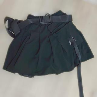 新品】XS 黒ベルト付きミニスカート テニススカート ロック原宿韓国ファッション(ミニスカート)