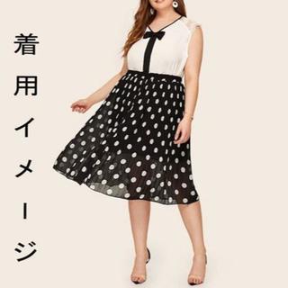 新品☆4L(大きいサイズ)★黒ドット柄シフォンプリーツスカート