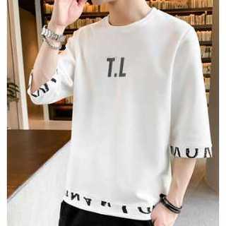 T.Lシャツ 白 ホワイト Tシャツ ペアルック オーバーシャツ シャツ 七分袖(Tシャツ/カットソー(半袖/袖なし))