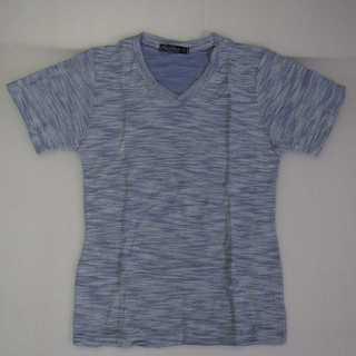 【新品】Tシャツ Vネック ブルー タオル生地 M (T50)(Tシャツ/カットソー(半袖/袖なし))