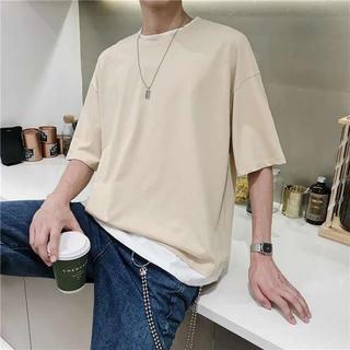 レイヤード オーバーサイズTシャツ 韓国ファッション ベージュ(Tシャツ/カットソー(半袖/袖なし))