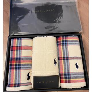 ラルフローレン(Ralph Lauren)の最終値下 新品 ラルフローレン フェイスタオル ハンドタオル 3本 百貨店(タオル/バス用品)