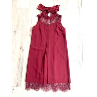 リリーブラウン(Lily Brown)のliliybrown ワインレッド レース カクテルドレス  ワンピース 赤(ミディアムドレス)