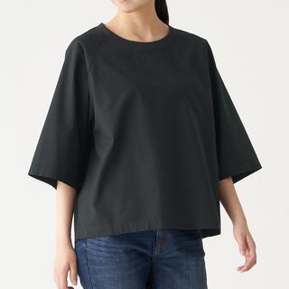 ムジルシリョウヒン(MUJI (無印良品))の無印良品 インド綿洗いざらし布帛五分袖Tシャツ(Tシャツ(半袖/袖なし))