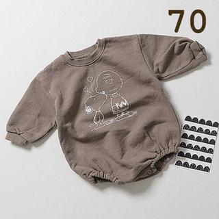 futafuta - 【70cm】スヌーピー ロンパース ブラウン ベビー服