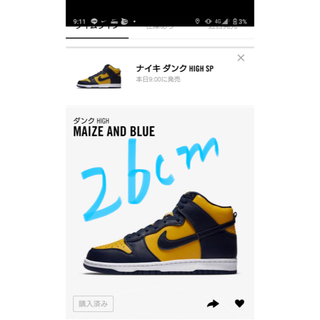 NIKE - nike dunk high ダンク ハイ maize and Blue