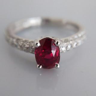 新品☆PT950 ダイヤモンド ルビー リング(リング(指輪))