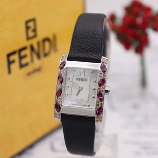 フェンディ(FENDI)の正規品【新品電池】FENDI 7000L/ルビーベゼル ホワイトシェル 希少品(腕時計)