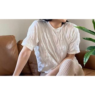 ヘザー(heather)のクリンクルリブカットプルオーバーショートスリーブ(Tシャツ(半袖/袖なし))