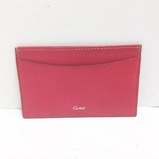 カルティエ(Cartier)のカルティエ カードケース - レッド レザー(名刺入れ/定期入れ)