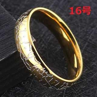 肌にやさしい チタン リング 指輪 クラック TATOO ゴールド 16号(リング(指輪))