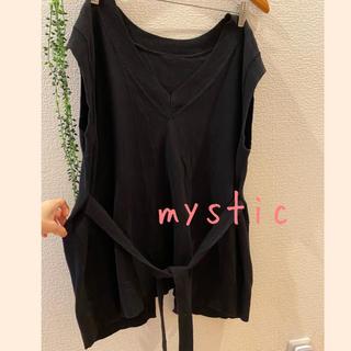 ミスティック(mystic)のmystic♥ 天竺編み バックオープン サイドリボンニットベスト(ベスト/ジレ)