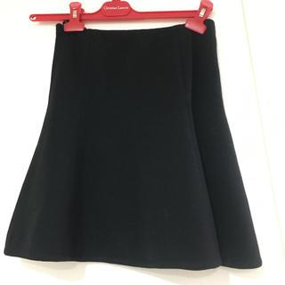 アルファキュービック(ALPHA CUBIC)の美品 アルファキュービック ニット フレアスカート 黒(ひざ丈スカート)