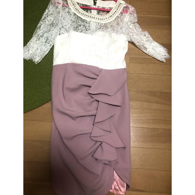JEWELS(ジュエルズ)のjewels レーススリーブ くすみパステルカラー 春ミニドレス レディースのフォーマル/ドレス(ミニドレス)の商品写真