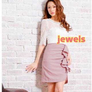 JEWELS - jewels レーススリーブ くすみパステルカラー 春ミニドレス