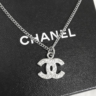 CHANEL - 正規品 シャネル ネックレス シルバー ココマーク ラインストーン 銀 ロゴ 石